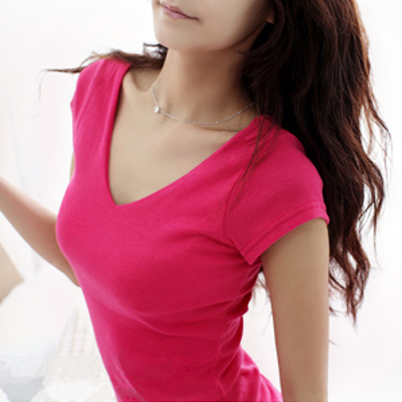 100 Cotton T Shirt Female Tight V Neck Basic Short Sleeve