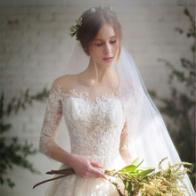 Buy long half sleeve muslim lace wedding dress high 2017 bride simple bridal gown real photo wedding-dress vestido de noiva for $55.80 in AliExpress store