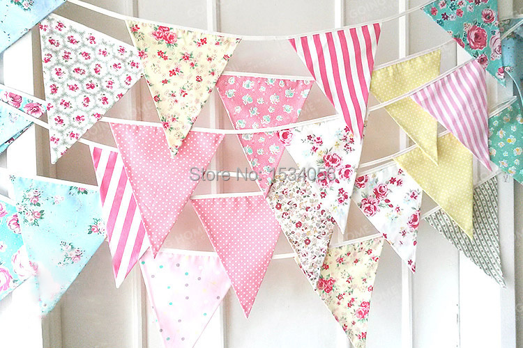 Colorful Handmade Fabric Flags Bunting Pennant Party Decoration Banner Home Decoration Party Supplies Events Wedding Decoration(China (Mainland))