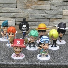 Anime One Piece Luffy Sanji Brook Nami Frank Usopp Robin Chopper Zoro Q Version PVC Action Figures Toys Dolls 9pcs/set AOP088