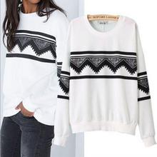 Fashion White Europe Womens Ethnic Print Blouse Sweat Sweater S-XL(China (Mainland))