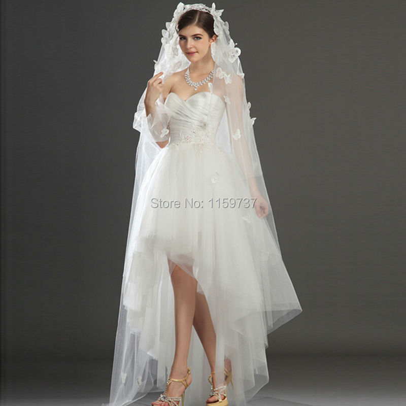 Low Back Wedding Dress With Veil : New arrival high low wedding gowns with appliques beads