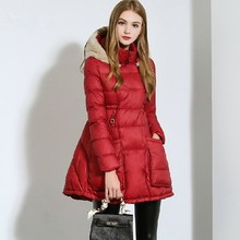 2015 Winter Fashion Korean Women Slim High Waist Down Jacket Women Long Hooded Elegant Coat Warm Parkas manteau femme JY-1121