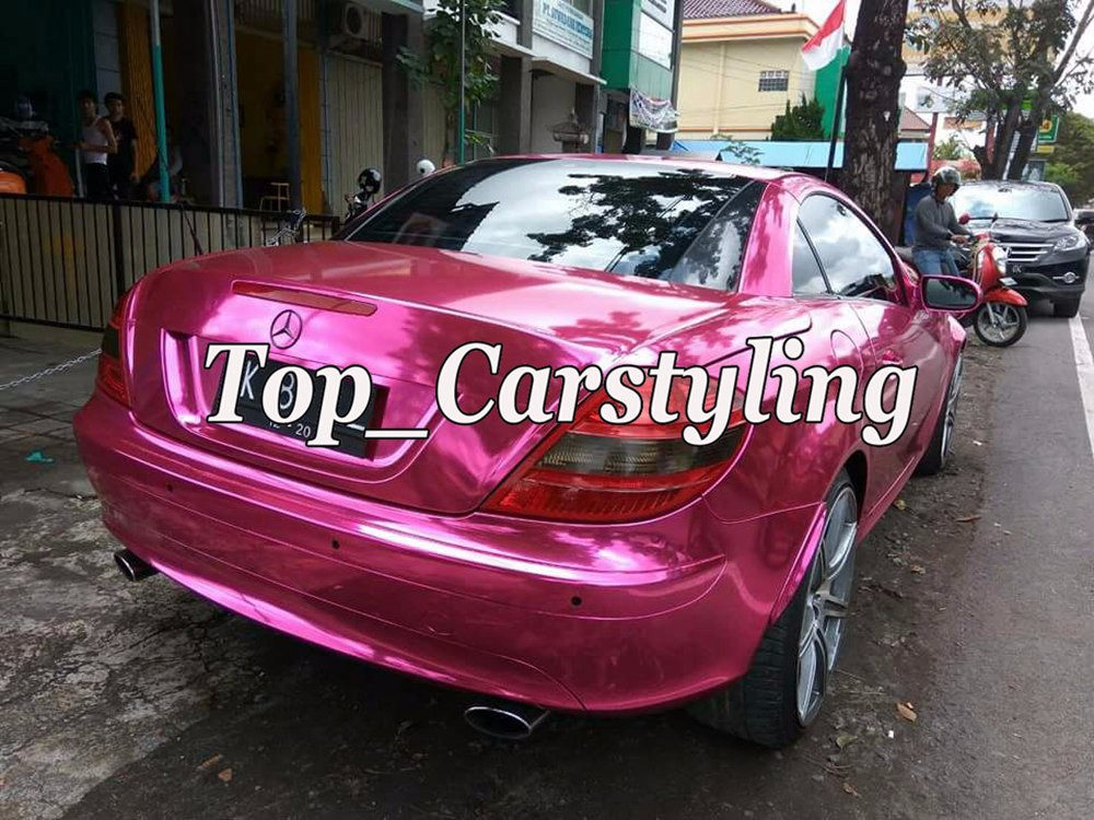 pink chrome mirror car wrapping film with air bubble free (4)
