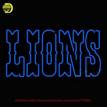 Detroit Lions 1970 2008 wordmark Logo NFL Neon Sign Neon Bulbs Room Recreation Neon Signs Glass Tube Handcraft Best Gifts 24x15(China (Mainland))