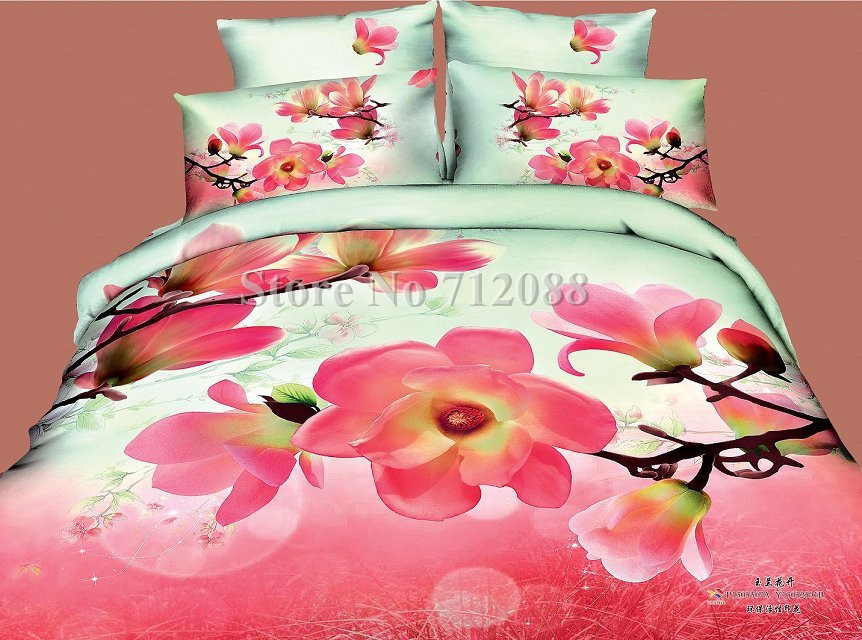 Wholesale,hot sell bed sheets pink flower floral pattern home textile 4pcs full/queen bedlinen quilt duvet covers bedding set(China (Mainland))