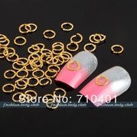 Free Shipping Wholesale/ Nail Supply,100pcs 3D Alloy Metallic Dangle Open Circle DIY Acrylic Nail Design/Nail art, Manicure Tool