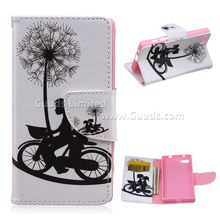 For Z5 Mini Cover Dandelion Bike Leather Wallet Case for Sony Xperia Z5 Compact Mini FREE SHIPPING(Hong Kong)