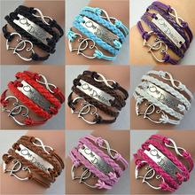 Fashion One Direction Sideways Love Heart Infinity Leather Bracelets & Bangles Weave Braided Multicolor Women id charm bracelet(China (Mainland))