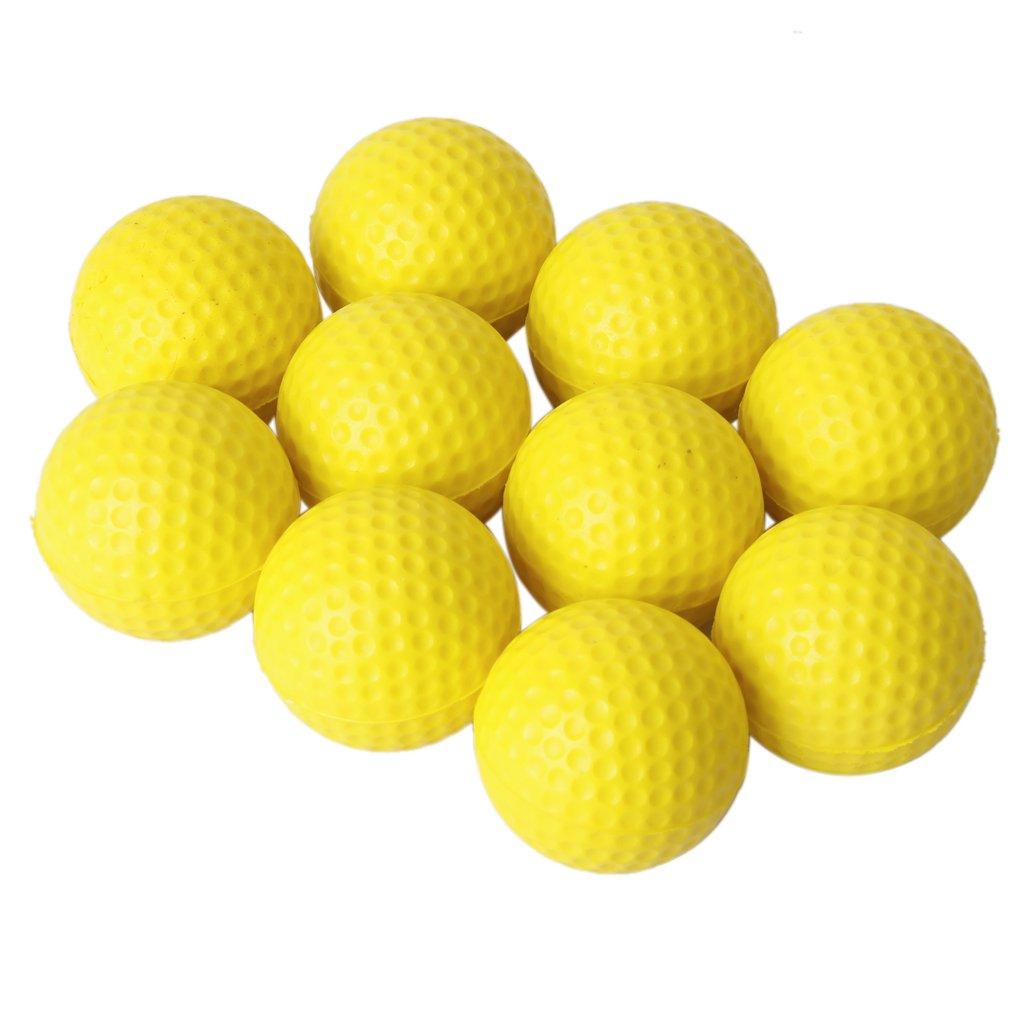 ETC-10pcs Yellow Soft Elastic Indoor Practice PU Golf Ball(China (Mainland))