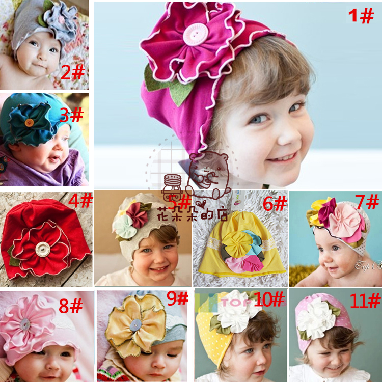 Hot Cute Baby Beanie Hats For Girls Beautiful Charming Flower Soft Cotton Baby Hats Girls Spring Autumn Hats Children's Cap(China (Mainland))