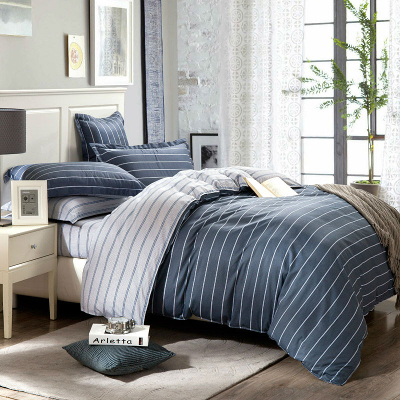 brief style white lines gray sheets sets cotton bedding sets linens Queen Double size duvet cover set bedspread set(China (Mainland))