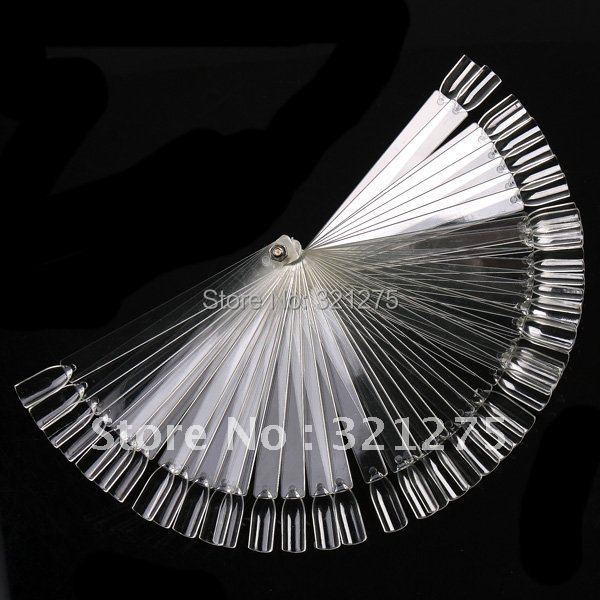 Free Shipping 50PCS Ivory White Plastic Flase Nail Art Tips Stick Display Practice Fan Board&Nail Art Display transparent color(China (Mainland))