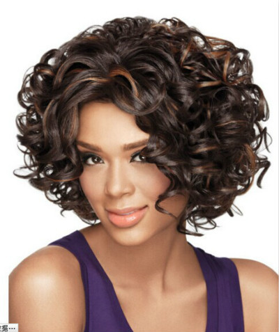 new arrival short curly hairstyle black highlights brown