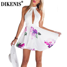 Summer Women Dress 2016 Casual Floral Print Sexy Backless White Halter Spaghetti Strap Party Dresses(China (Mainland))