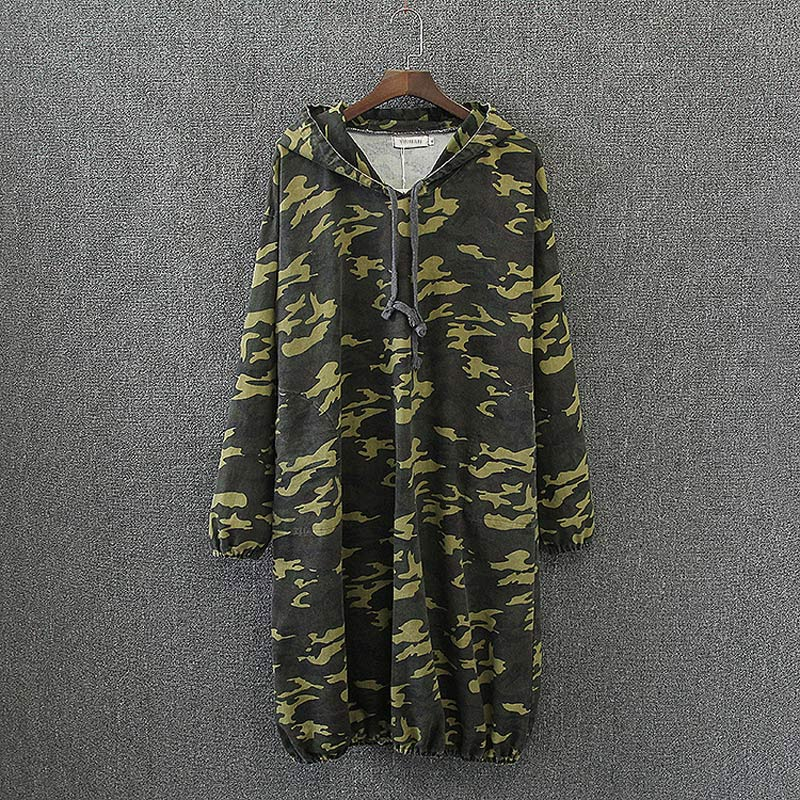 S6 Spring Casual Women Camouflage Dresses 3XL Plus Size Clothes Cotton Hooded Fashion Loose Dress 7024(China (Mainland))