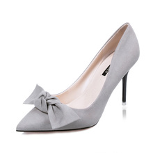 Women sexy high heel shoes sapatos femininas lady casual thin heel gray pumps with bow tie female nubuck leather shoes(China (Mainland))