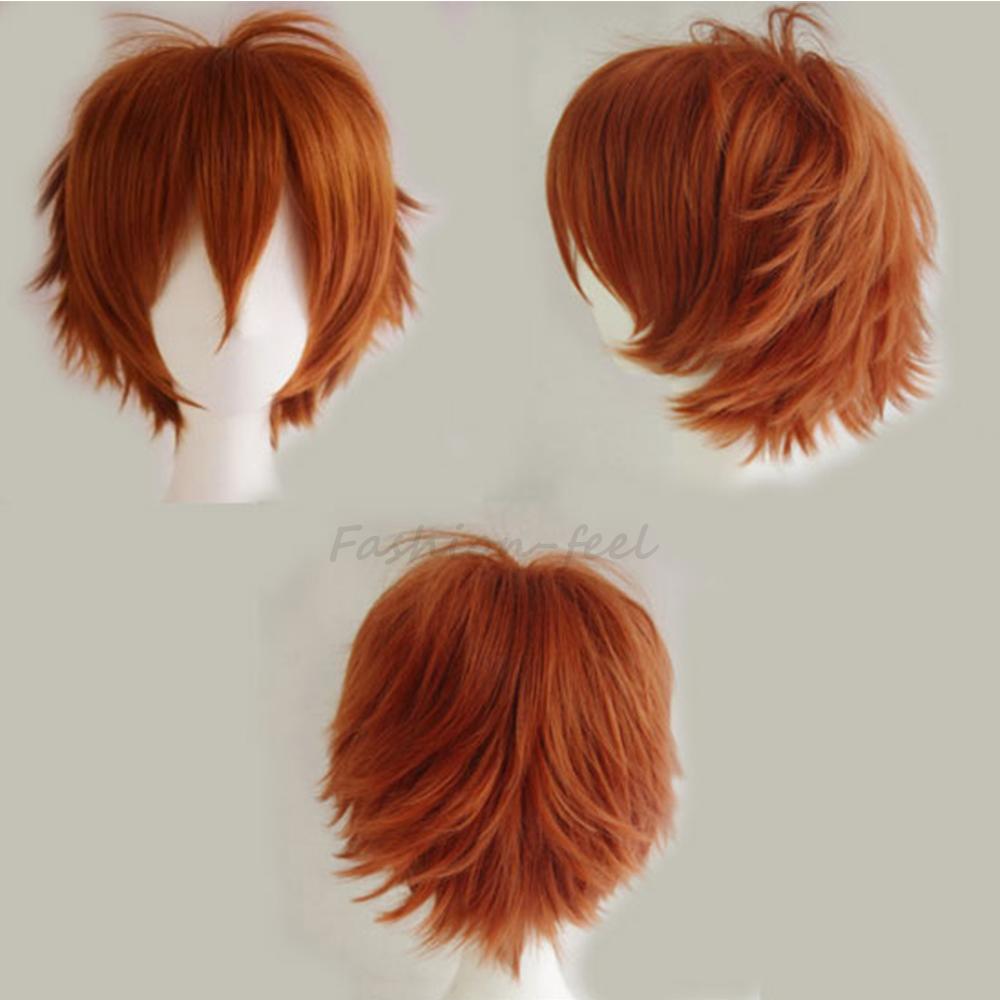 Ladies and Gentlemen Top Quality Short Wig Dark Orange Fashion Cosplay Costume Anime Show Full Head Wigs Heat Resistant Hair(China (Mainland))