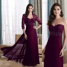Honey Qiao Mother Of The Bride Dresses Elegant Purple Chiffon Sweetheart Sheath 2017 Evening Gowns With Jacket Lace Beaded(China (Mainland))