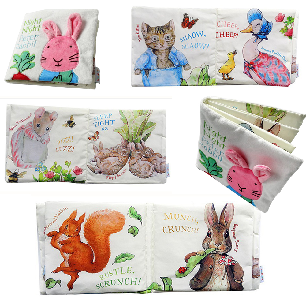 Cute baby cloth book night rabbit Baby Educational toys Animal Cat Rabbit Duck squirrel Rattle infant Toys(China (Mainland))