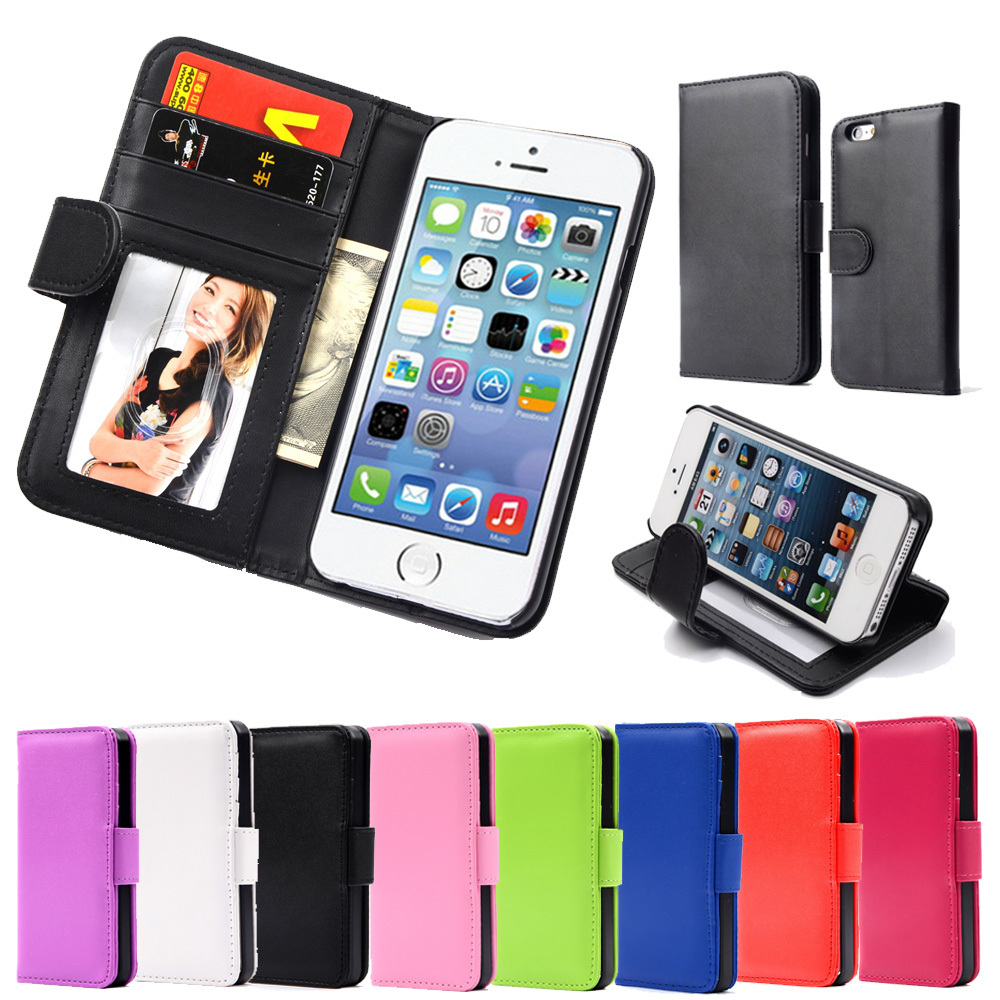 Hot Wallet Case For Apple iPhone 5 5S 5G Magnetic Flip PU Leather Case with Photo Frame Card Holder Smart Stand Skin Bags Cover(China (Mainland))