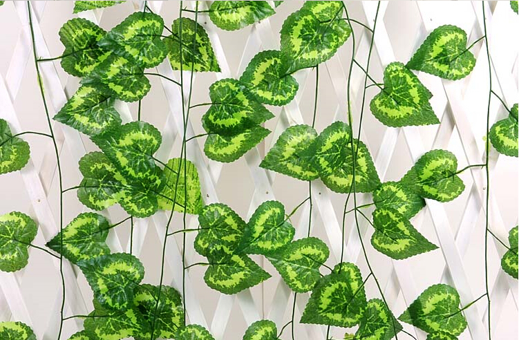 Cute artificial flowers Vine green love heart shape 30 leaves wedding decoration simulation flowers vines valentine day(China (Mainland))