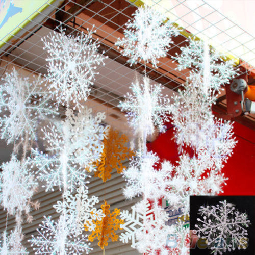 30Pcs White Snowflake Ornaments Christmas Holiday Festival Party Home Decor 2MYZ