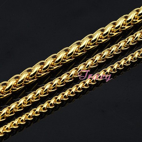 Fashion 4mm 5mm 6mm Mens Womens Boys Yellow Simple Solid 18K Gold Filled Necklace Braid Wheat Style Chain Gold Free Shipping(China (Mainland))