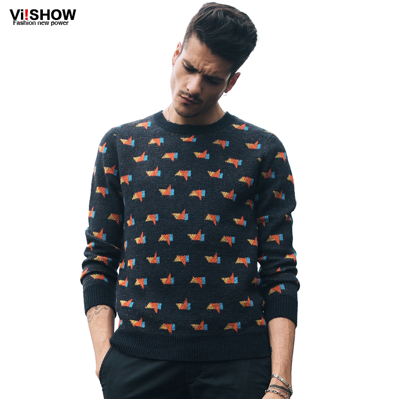 VIISHOW Brand Men Sweater Pullover Men Hip Hop Knitting Slim Fit Sweater Men Print Casual Clothing Plus Size S-5XL Z103553(China (Mainland))