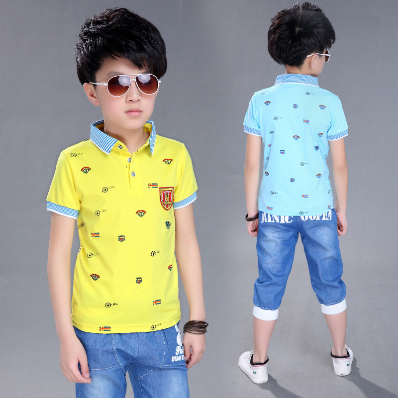 Big Kids Boys Summer 2016 Cotton Short Sleeved T Shirt +pants Suit Boy Baby Children's 2pc Sets 4-14ages Free Shipping(China (Mainland))