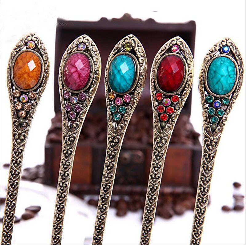 Retro simple Turquoise Rhinestone chinese Hair stick Handmade vintage Women Headwear jewelry special gift for Female