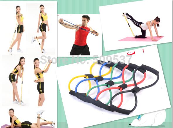 Yoga Pilates Sport equipment 8 shaped tubing Fitness Resistance Bands Latex Exercise Tubes Elastic Training Rope - jianhua jiang's store