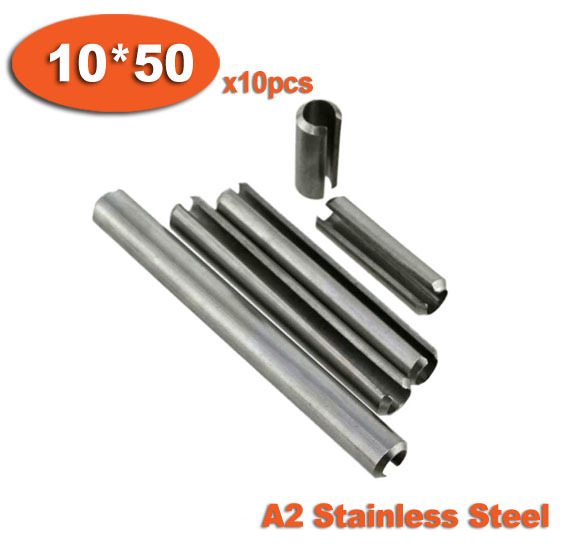 10pcs DIN1481 10 x 50 A2 Stainless Steel Slotted Spring Pins<br><br>Aliexpress