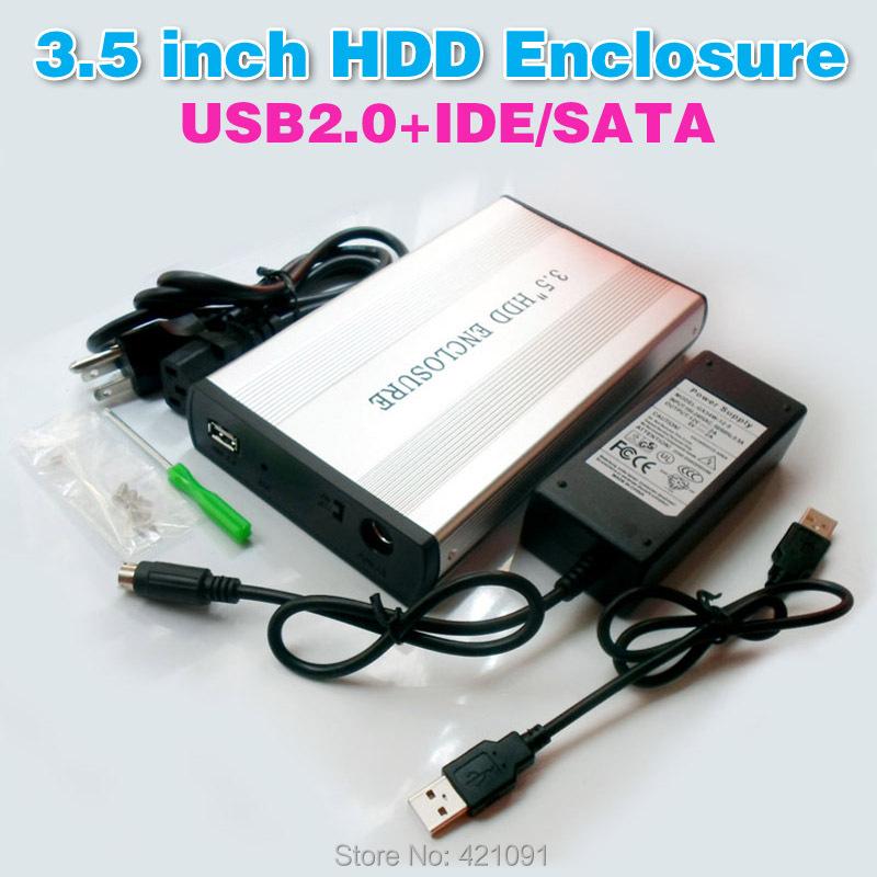 """3.5 inch HDD IDE / SATA Hard Disk Drive Enclosure 3.5"""" SATA / IDE HDD External Storage Enclosure Parts HD Case External Box(China (Mainland))"""