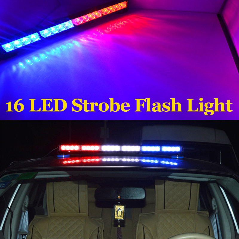 16 LED auto LED lamp strip stick high quality traffic lights bar lamp blub warning light strobe police flash light high power(China (Mainland))