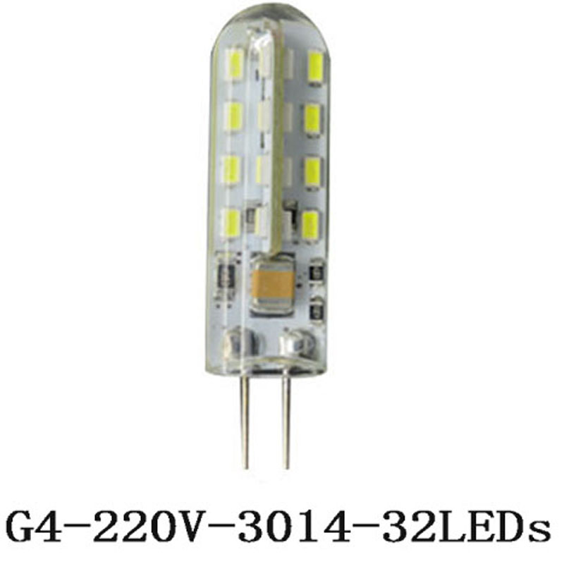 1pcs G4 Silicone Crystal AC 220V 5w 32leds SMD 3014 SMD  Home Replace Car RV Marine Bulb white/warm white  halogen lamp light<br><br>Aliexpress