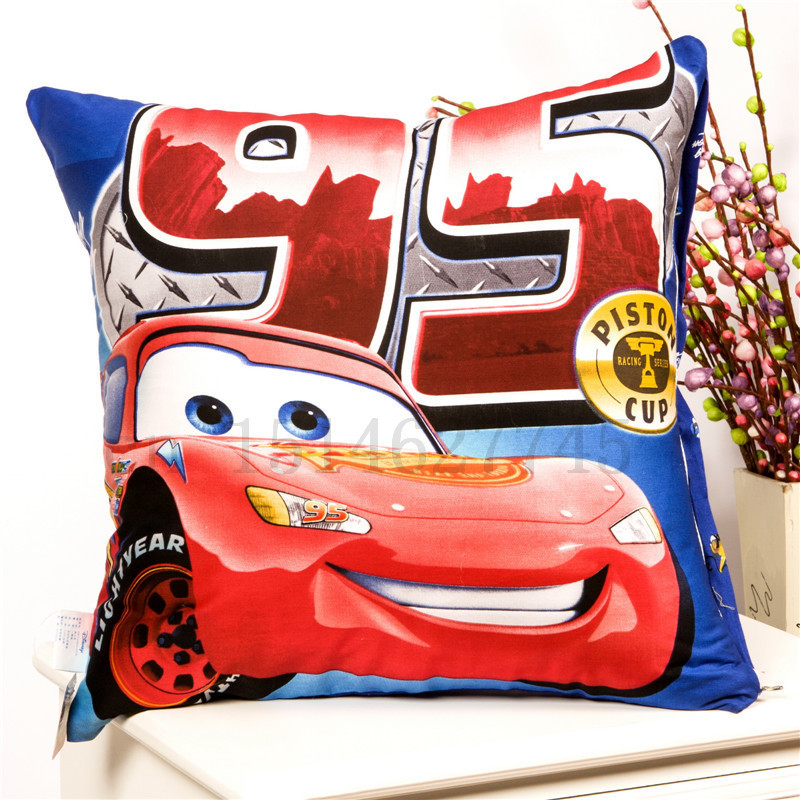 NEW BRAND Cartoon Cars Cushion Throw Decorative Pillow Scatter Boys Lightning McQueen 20'' X 20'' in 23 patterns for option L(China (Mainland))