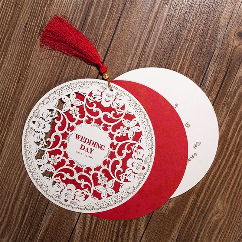 Wedding Invitations Card 15.4cm Chinese Style Diameter Floral Design Envelope Pure Love Red White Elegant Round Party Supplies(China (Mainland))