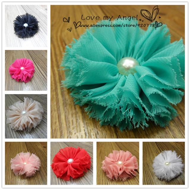 Free shipping vintage chiffon shabby look flower with Pearl Baby flower head DIY hair fascinators Photography props 40pcs/lot