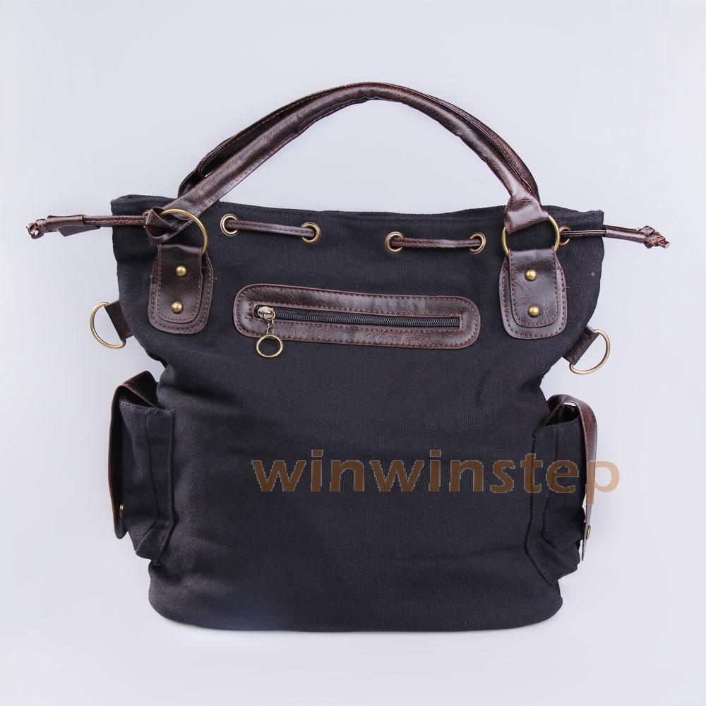 BS#S Korea Style Women Multi-pocket Canvas Cross Body Shoulder Bag