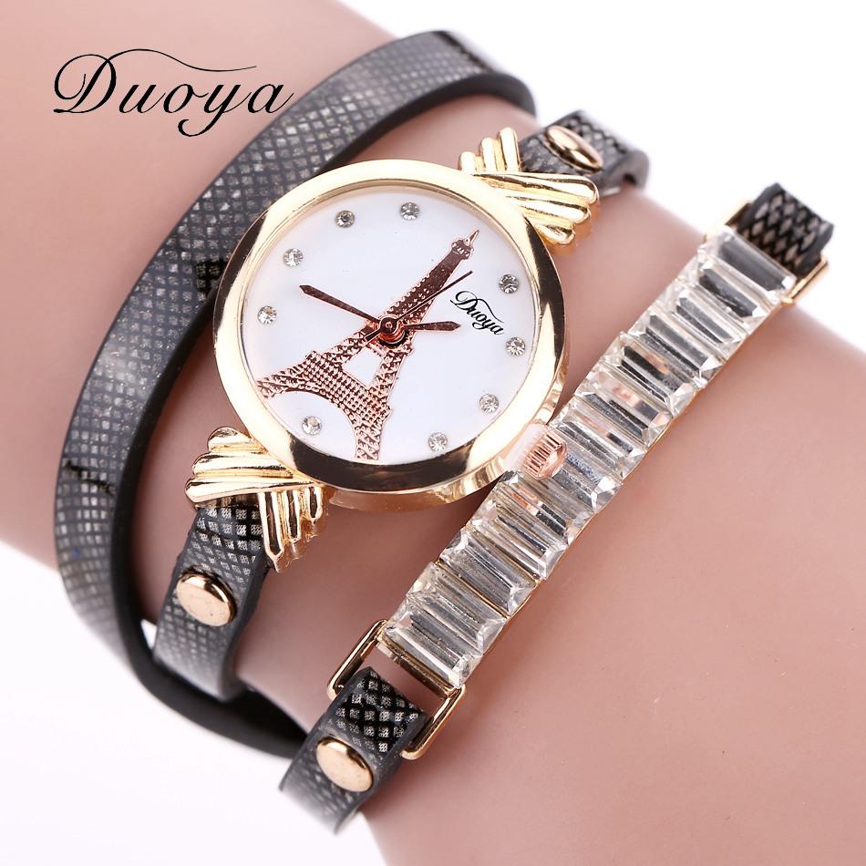 Duoya Brand Fashion Watch With Box Women Gold Tower Jewelry Bracelet Leather Watch Clock Girl Vintage Casual Quartz Wristwatch(China (Mainland))