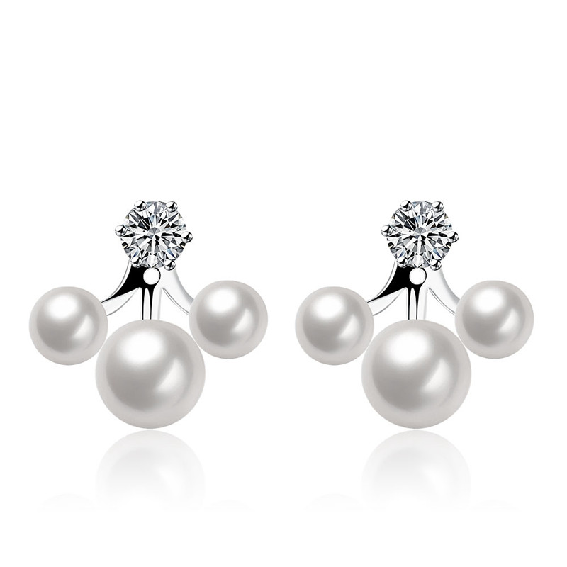 Hot Sale Real Pearl CZ Diamond Jewelry Stud Earrings For Women 925 Sterling Silver Vintage Brincos Boucle D'oreille Aros QA0279(China (Mainland))