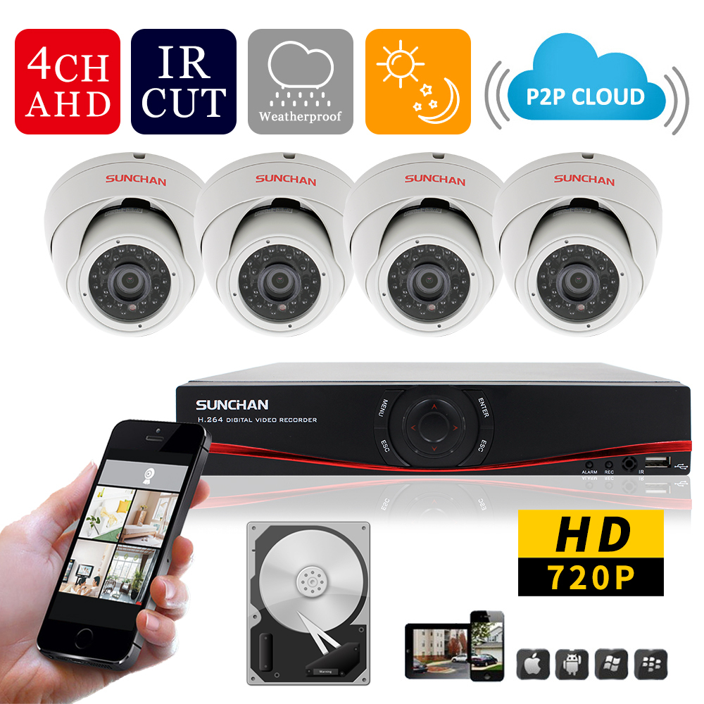 Система видеонаблюдения SUNCHAN 4/, AHD 720P HD 1080P 1MP CCTV 24IR /1 SKT-4041DV1-1TB hkes full hd cctv camera 1080p outdoor security camera 2mp ahd bullet camera 960p 720p ultral low illumination