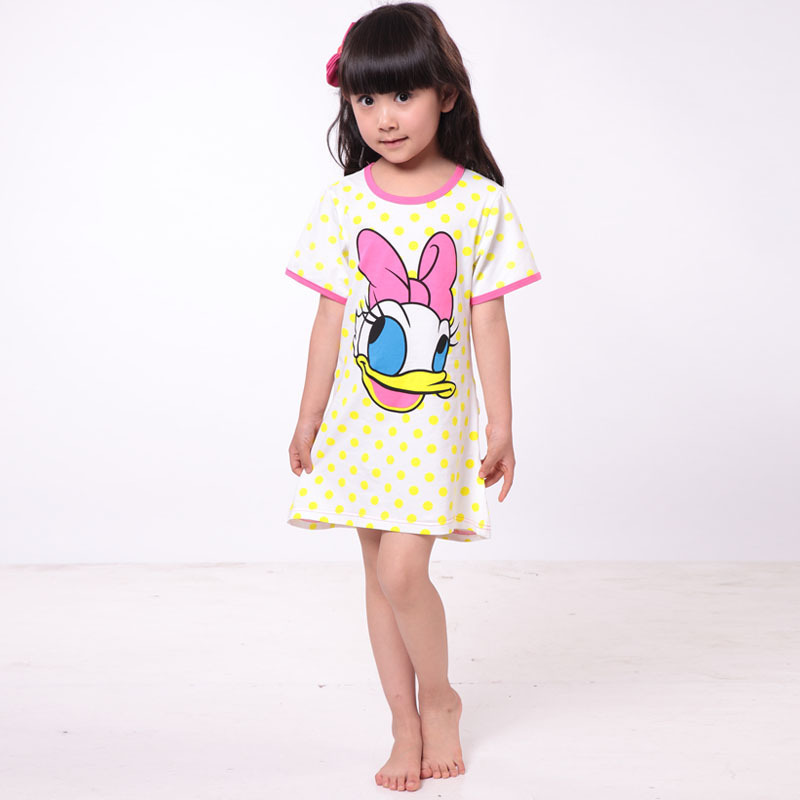 girls nightgowns 2015 new summer children's cartoon cotton tracksuit girls nightgowns cotton(China (Mainland))