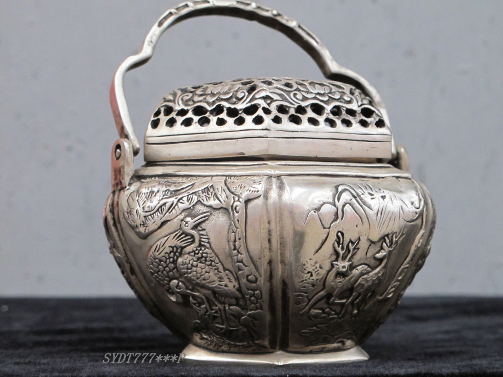 """5""""Chinese Hand Made Silver Copper Crane & Deer & Bird ancient warm hand warmer copper Decoration real Brass(China (Mainland))"""