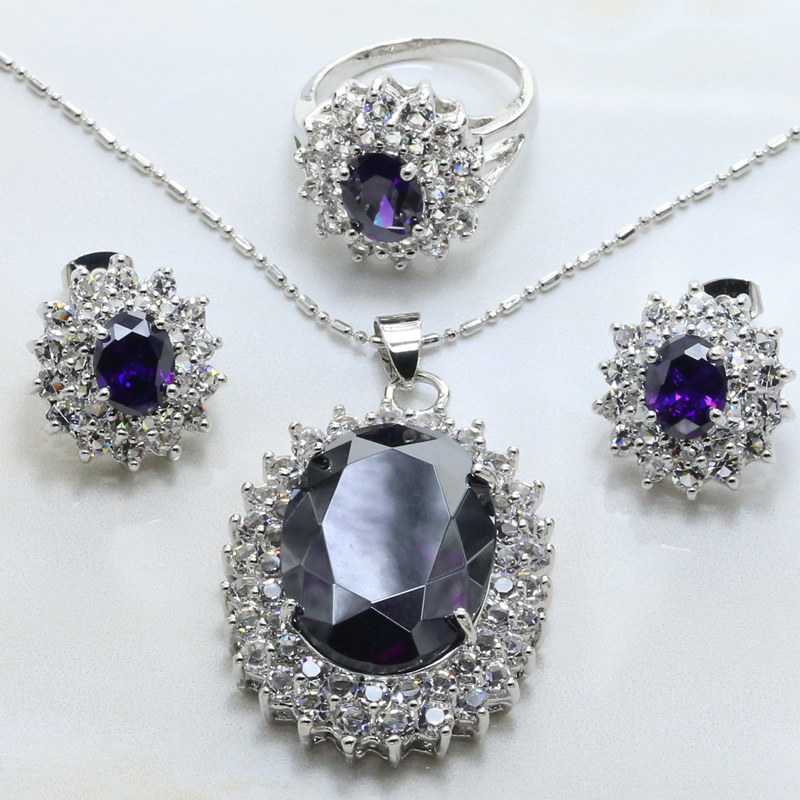 Viciwini 2017 New Round Jewellery Set Standard Tray Plated Silver Crystal Fashion Bead Jewelry 925 Mark-9063A(China (Mainland))