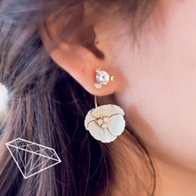 Korean Exquisite Earrings Camellia Bright Drill After Hanging Earrings Earrings Wholesale(China (Mainland))