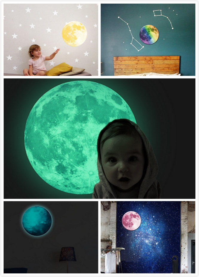 5 Colors 30cm 12 in Peel N Stick World Moonlight Sticker Glow In The Dark Moon Earth wall Children Room Luminous Planet(China (Mainland))