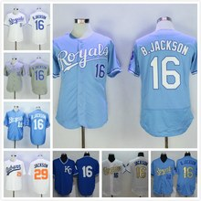 New Mens 16 Bo Jackson Jersey 2016 White Blue Grey Stitched(China (Mainland))