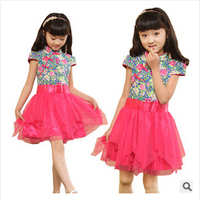 Retail Cotton 2015 Summer Fashion Little Girl Dress Floral Children Clothing Flower Casual Girls Dresses three colors